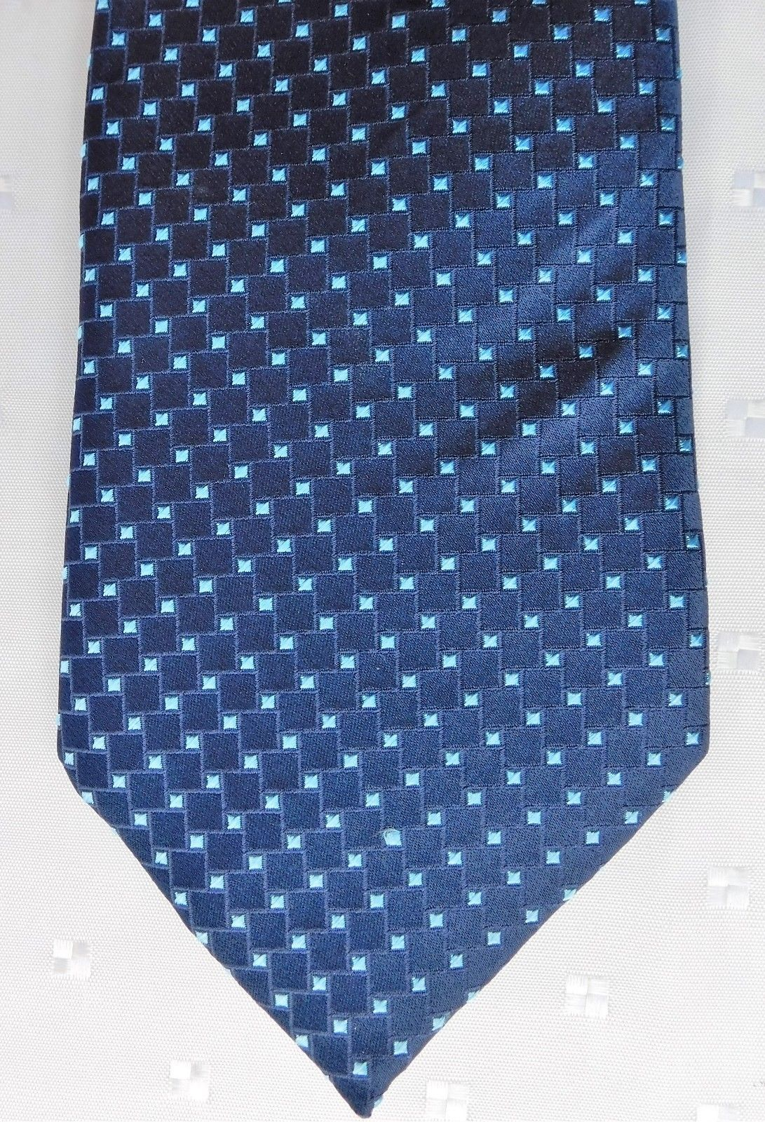 1d5d0b8f345e Mens pure silk tie T M Lewin navy blue squares turquoise stars NEW BNWT
